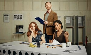 Catherine Tate, Mark Gatiss and Nina Sosanya in the 2015 production of The Vote.