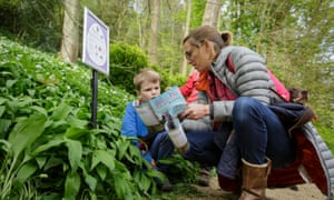 Jaime Ormshaw and her son Zachary on the hunt for chocolate bunnies in Prior Park Landscape Garden, Bath.