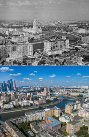 The Ukraina hotel, the Moskva river and the Novoarbatsky bridge in 1960; with a heightened skyline in the background in 2015. Moscow Russia