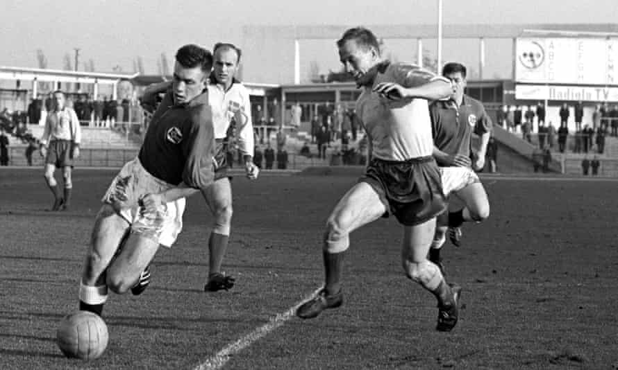 Norway's Roald 'Kniksen' Jensen, left, in action for Norway against Sweden in their 1-1 draw in Malmo in 1962.