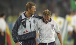 Terry Butcher consoles Paul Gascoigne at the end of the 1990 World Cup semi-final between England and West Germany.