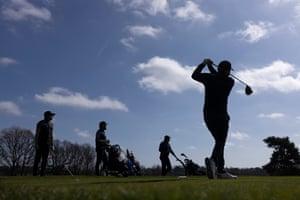 An early-morning swing at Hadley Wood golf club