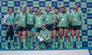 Cracknell celebrates with the Cambridge crew after Sunday's Boat Race victory on the Thames.