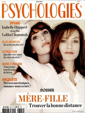 Huppert with her actress daughter Lolita Chammah on the cover of Psychologies magazine