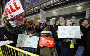Protests also took place at Chicago's O'Hare airport.