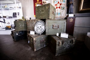 A collection of vintage Soviet military cargo crates.