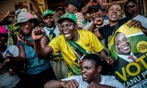 Supporters of Zimbabwe's newly elected president, Emmerson Mnangagwa, celebrate.