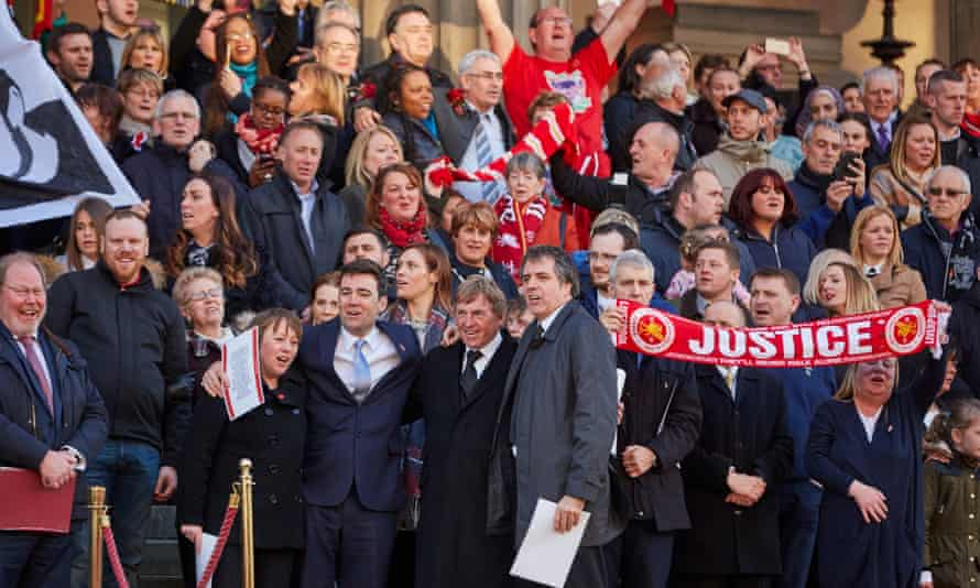 Andy Burnham MP with Liverpool fans the day after the Hillsborough verdict.