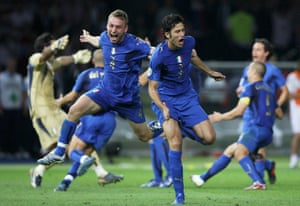 Italy's Fabio Grosso celebrates after scoring the match-winning penalty.