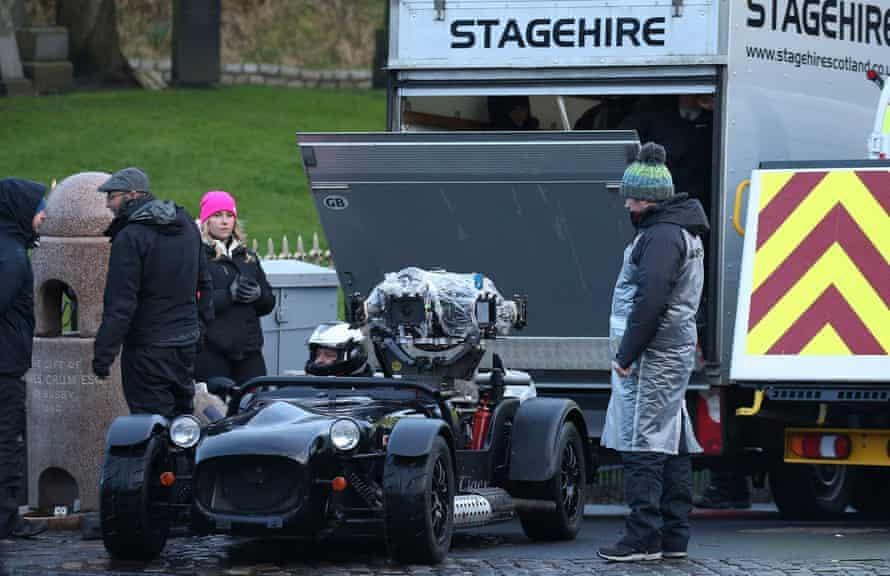On set filming The Batman in Glasgow.