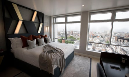 The bedroom of a flat inside the Centre Point building