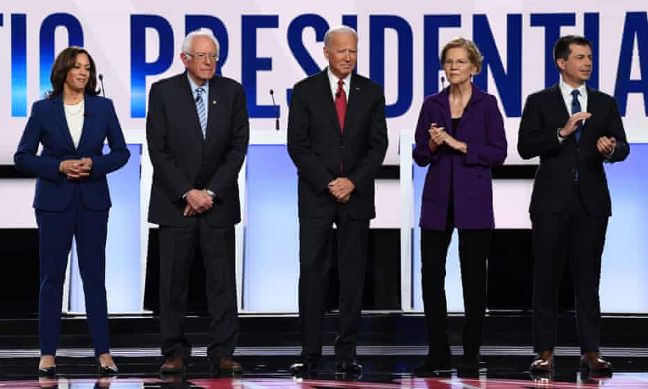 Kamala Harris, Bernie Sanders, Joe Biden, Elizabeth Warren and Pete Buttigieg.