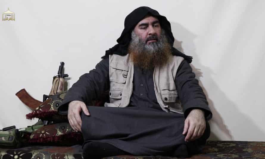 Abu Bakr al-Baghdadi appears in an Isis propaganda video.