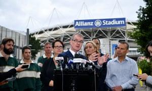 NSW Labor leader Michael Daley outside the stadium on Thursday. 'We won't get out of the way,' he vowed.