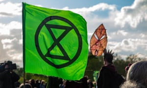 The Extinction Rebellion flag in Marble Arch, London, last year