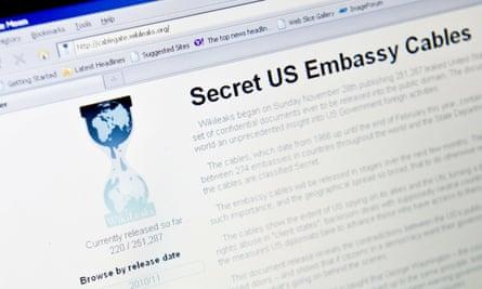 Una vista della homepage di WikiLeaks nel novembre 2010 dopo che ha iniziato a pubblicare cavi diplomatici trapelati