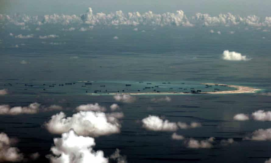Artificial islands being built by China in disputed waters in the South China Sea, west of Palawan, Philippines. China says it could have seized more islands than it has done.