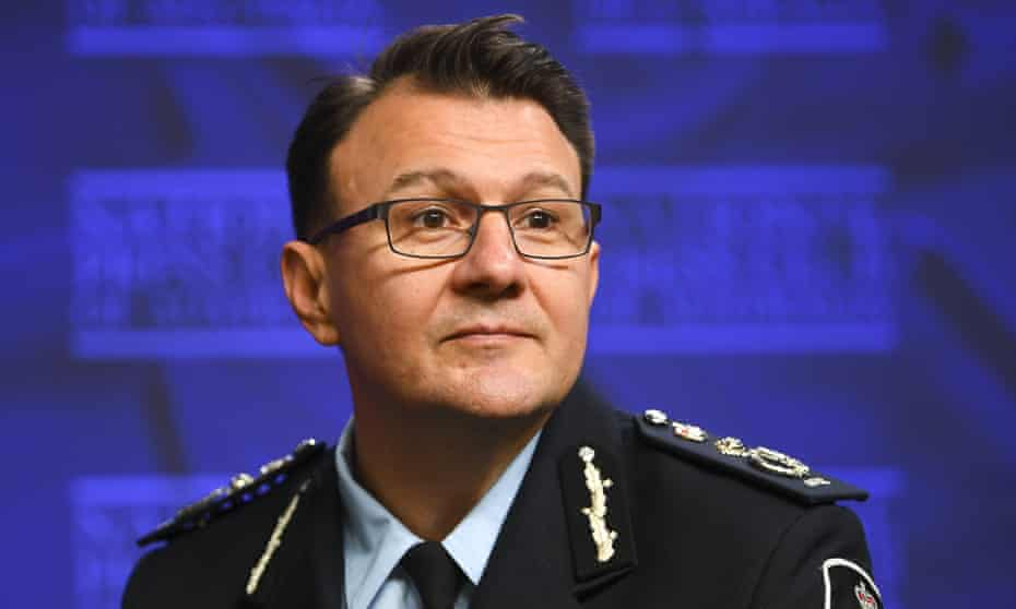 A fake video features a man claiming to be Australian Federal Police commissioner Reece Kershaw talking about plans to 'dissolve' the government.