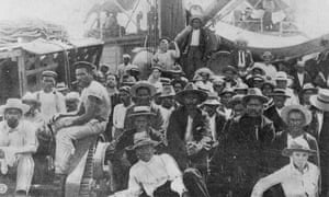 Blackbirded South Sea Islanders on the deck of the Moresby in Queensland.
