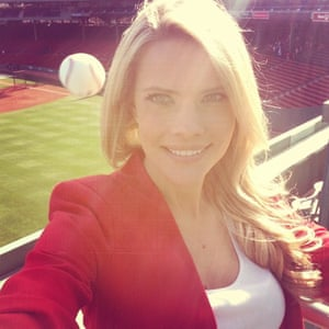 This selfie by reporter Kelly Nash titled - Most dangerous selfie ever. That Happened. shows just how close she came to being a casualty of batting practice at Fenway Park in Boston.