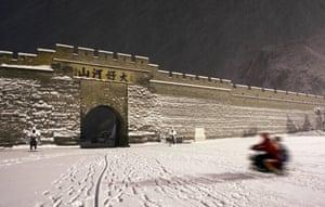 A wintry scene following snowfall in Zhangjiakou