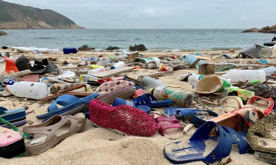 Plastic debris litters the beach on the Soko Islands in Hong Kong.