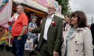 Labour leader Jeremy Corbyn and his wife Laura Alvarez during the Durham Miners' Gala on Saturday 13 July.