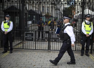 Police stand guard outside Downing Street during the 'Stop the Coup' protest