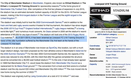 The Wikipedia entry relating to the City of Manchester Stadium has been hacked to suggest it is now called the Liverpool Under-19 Training Ground