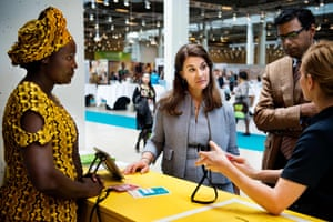 Melinda Gates visiting a booth at the Women Deliver Conference in Copenhagen, 2016.