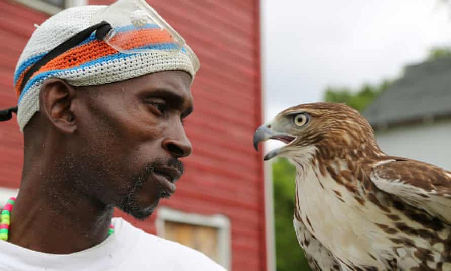 Rodney Stotts and his bird.