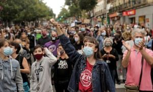 People protest over the lack of support and movement on improving working conditions at the Vallecas neighbourhood, amid the outbreak of the coronavirus disease (COVID-19) in Madrid, Spain, September 20, 2020.