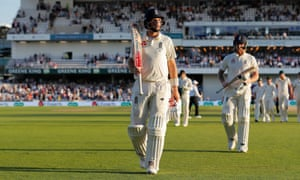 Joe Root walks off the field unbeaten at the end of play.