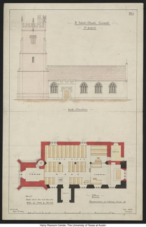 Architectural drawings by Thomas Hardy of his plans for the restoration of St Juliot's church in Cornwall (1867).