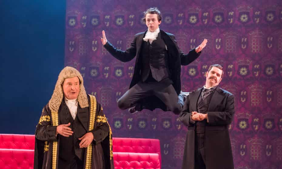 Andrew Shore as the Lord Chancellor, Richard Leeming as Page and Ben McAteer as the Earl of Mountararat in Iolanthe at London Coliseum.