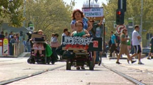 A Melbourne protest that stopped trams in 2012.