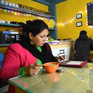 Laila Haidari in her cafe.