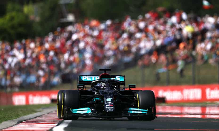 Lewis Hamilton during qualifying for the Hungarian F1 GP