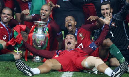 Nani celebrates with his former Manchester United team-mate Cristiano Ronaldo after Portugal's triumph over France in the Euro 2016 final in July.