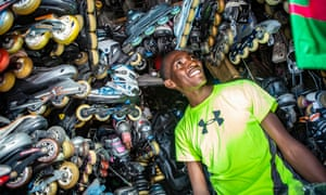 Kenneth Wanjohi inside his store, Skate Station Nairobi, which primarily deals in used skates. His business has grown steadily with the sport's increased popularity.