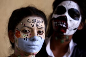Bhopal, India: Students at Sardar Vallabhbhai Patel Polytechnic pose during a face-painting competition