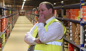 Sports Direct founder Mike Ashley in the  firm's warehouse in Shirebrook, Derbyshire