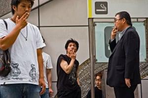 Smokers at Shinjuku station
