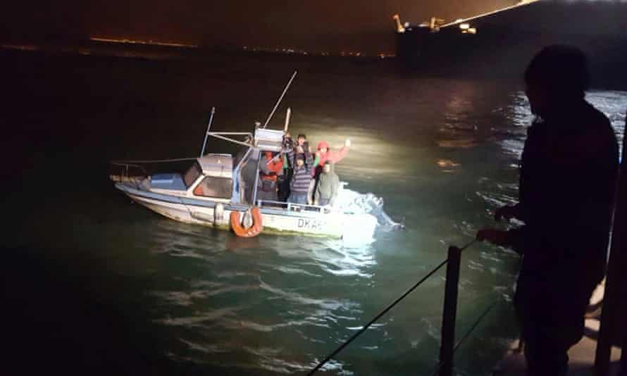 Migrants being intercepted by French coast guards near Dunkirk. It is believed the Iraqi man had been rejected for asylum in Germany.