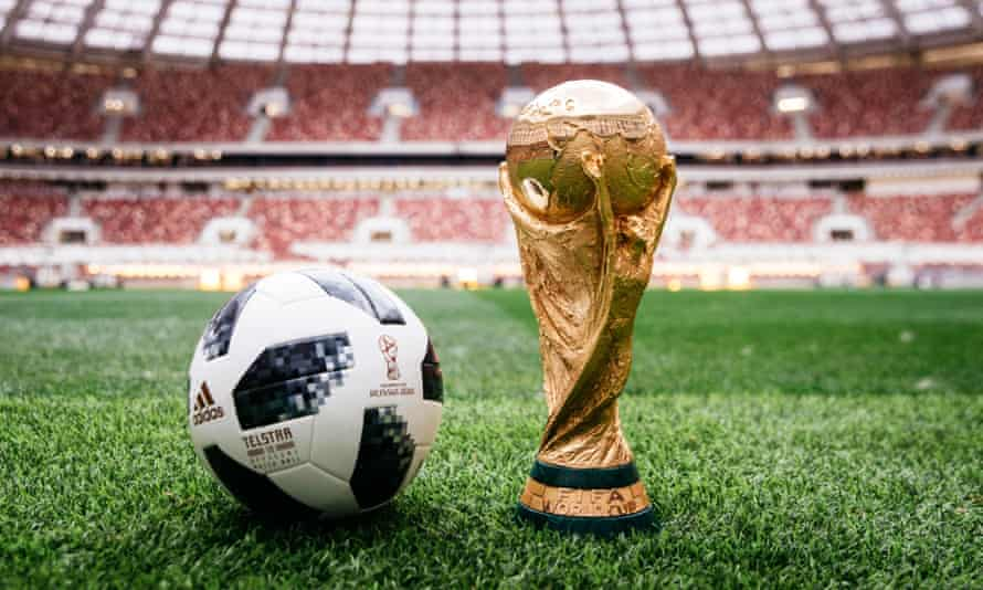 The World Cup trophy and official Russia 2018 match ball in Moscow.