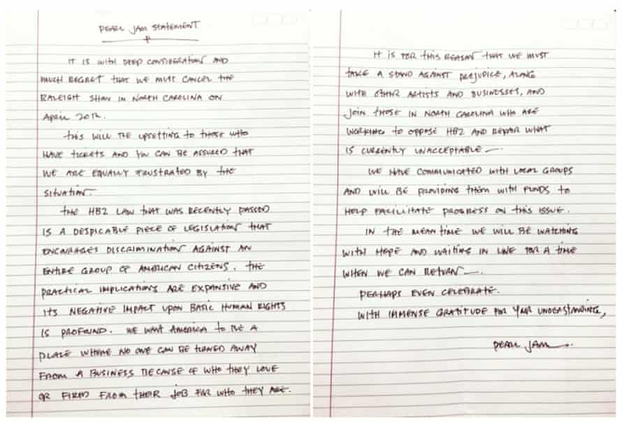 Pearl Jam statement