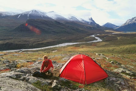 Man and tent. Sarek National Park. Lapland.
