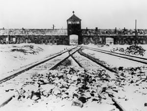 Auschwitz concentration camp gate and railways after its liberation by Soviet troops in 1945