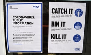 Notices outside a NHS centre testing for coronavirus in London.