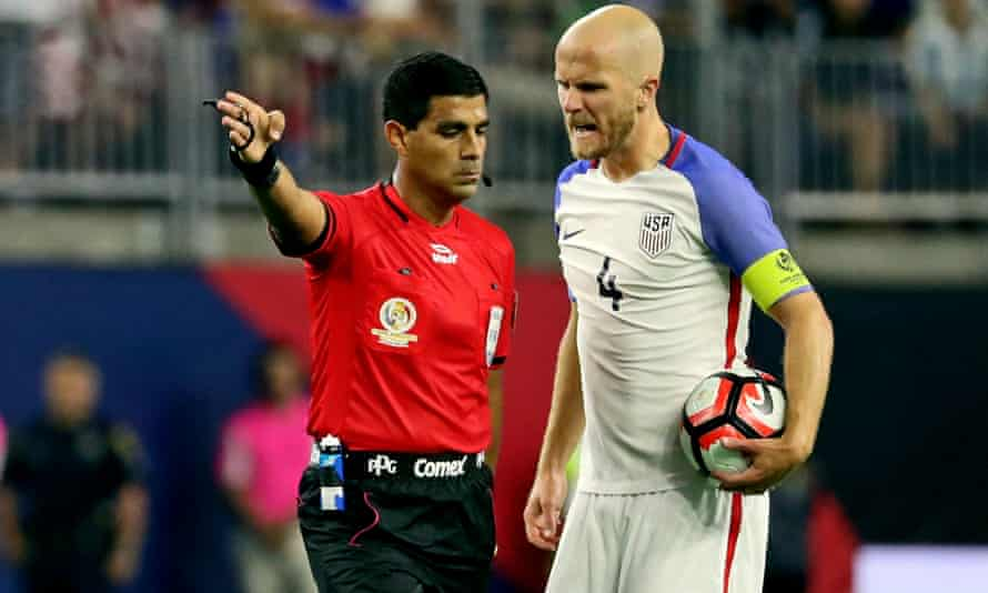 Michael Bradley argues with the referee during the US defeat to Argentina